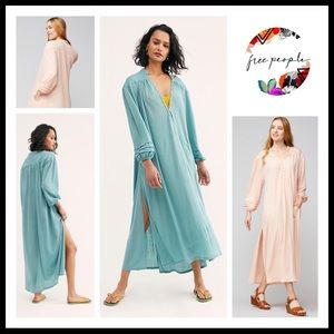 FREE PEOPLE BOHO BUTTON FRONT MAXI DRESS A3C